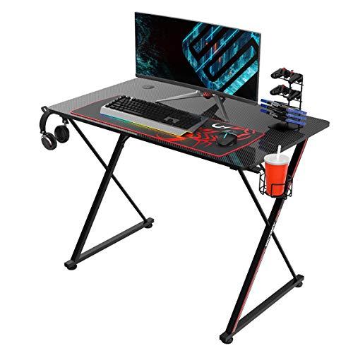 EUREKA ERGONOMIC Gaming Tisch X39 Gaming Schreibtisch Klein Gaming Computertisch PC Schreibtisch mit Getränkehalter und Kopfhörerhalter 100 * 60 cm Schwarz
