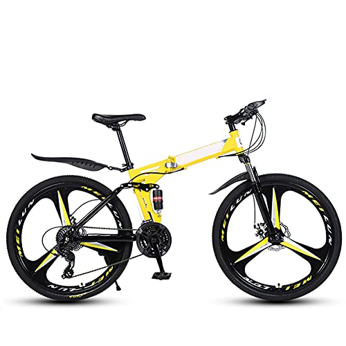 GWL Bicicleta Plegable para Adultos, 26 Pulgadas, Bicicleta de montaña prémium para niños, niñas, Hombres y Mujeres, Bicicleta de montaña portátil Ultraligera/Amarillo / 26inch