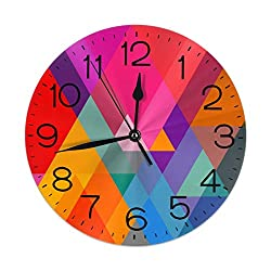 FEAIYEA Wall Clock Colorful Triangle Decorative Wall Clock Silent Non Ticking - 9.8Inch Round Easy to Read Decorative for Home/Office/School Clock