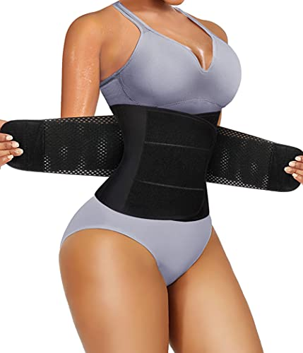 Bafully - Cinturón de entrenamiento para adelgazar la grasa y la sauna y la cintura ajustable con cierre de velcro de neopreno Negro XXL