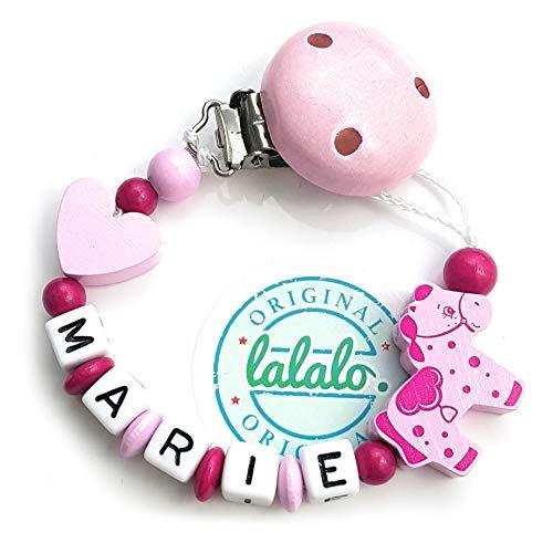 LALALO fopspeen ketting paard/pony & hart met naam, baby fopspeen houder van hout, handgemaakte individuele naamketting voor geboorte, verjaardag, Kerstmis, doop voor meisjes roze