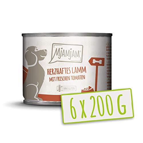 MjAMjAM - Premium Nassfutter für Hunde - herzhaftes Lamm an gekochtem Reis mit frischen Tomaten, naturbelassen mit extra viel Fleisch, (6 x 200 g)