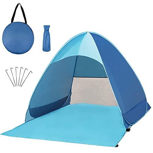 AOMIAO Tenda Mare Pop Up Portatile, grande tenda da spiaggia UPF 50+ per 2-4 Persone per Outdoor...