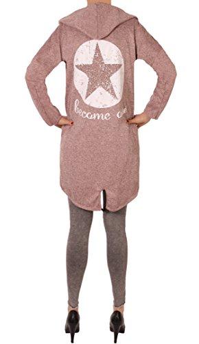 Fashion You Want Damen Cardigan Größe 38/40 bis 48/50 verfügbar offener Cardigan Strickjacke Bolero Poncho Blazer mit Trendmotiv Stern Anker Totenkopf Skull (46/48, Stern rosa)