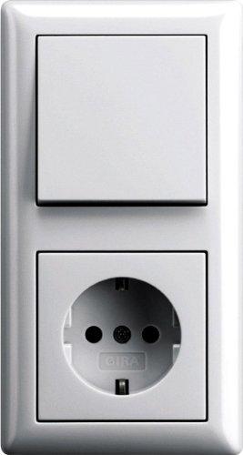 Komplett-Set GIRA, 2-fach Kombination, Wechselschalter / Steckdose - reinweiß glänzend Sytem 55