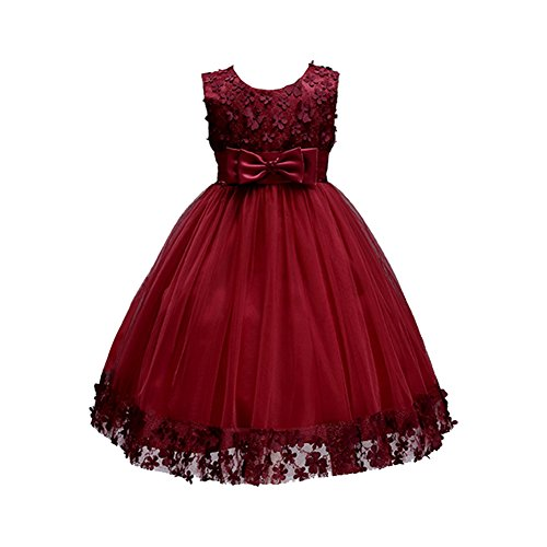 Weileenice 1-14 Years Big/Little Girl Flower Lace A-line Party Dresses Christmas Fancy Princess Bridesmaid Wedding Kids Ball Gown Halloween (3-4 Years/Label 6, 314-BY) Burgundy Glitter