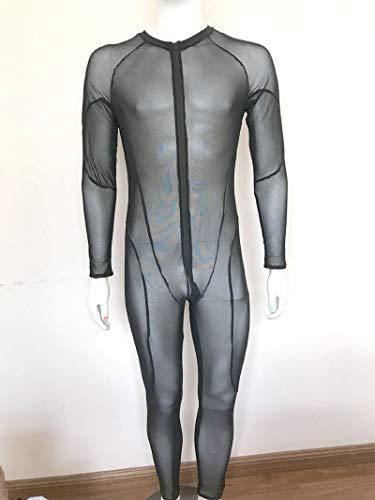 ZXF Mesh Sexy Men Patchwork See Through Body Velato Lucido Tuta Sexy della Fase di Usura Stretta Punk Tutina Gay Wear Plus Size (Size : L)