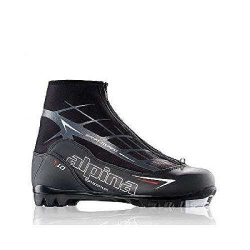 Alpina Sports T10 Touring Cross Country Nordic Ski Boots, Black/White/Red, Euro 48