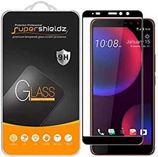 [2-Pack] Supershieldz for HTC U11 Eyes Tempered Glass Screen Protector, [Full Screen Coverage] Anti-Scratch, Bubble Free, Lifetime Replacement (Black)