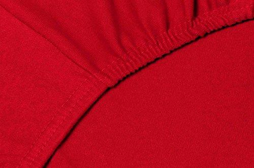 Double Jersey – Spannbettlaken 100% Baumwolle Jersey-Stretch bettlaken, Ultra Weich und Bügelfrei mit bis zu 30cm Stehghöhe, 160x200x30 Rot - 5