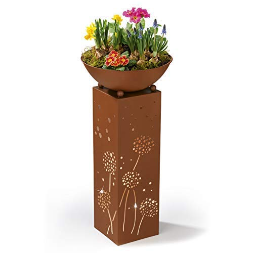 Hoberg LED Pflanzsäule Pusteblumen-Design in Rost-Optik | Abnehmbare Pflanzschale (Ø 34cm) In- und Outdoor geeignet | Integrierte Beleuchtung, 6h Timer, kabellos [19 x 19 x 72 cm]