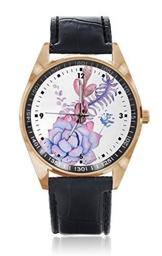 Choeter Exotisches Bouquet Hochzeit Bouquet Custom Personalisierte Herren Damen Armbanduhr Wasserdicht Edelstahl Quarz Armbanduhr mit austauschbarem Lederband