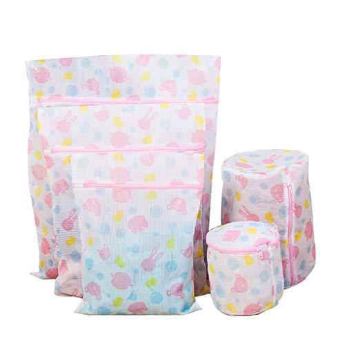 Bolsa de lavandería de malla para ropa sucia con cremallera antigancho, combinación de malla fina, juego de cinco juegos de bolsa de organización de viaje (color: rosa)