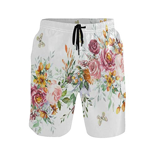 Flamingos Pattern Mens Classic Fit Beach Shorts Flower Bathing Suit Best for Vacation Swimming Walking Surfing Rungning
