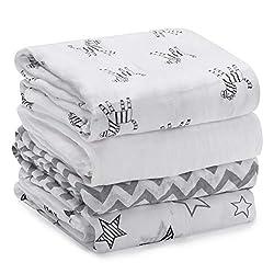 Mussole neonato set da 4, 120x120cm - Momcozy copertina neonato quadrotti cotone neonato, formato grande unisex lenzuola culla lenzuola carrozzina, regalo perfetto per il bambino