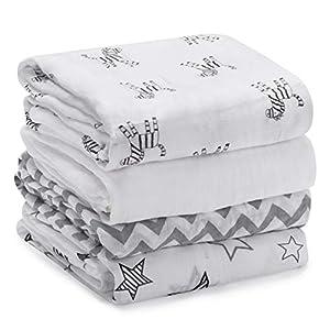 Mantas Swaddle Bebé de Envoltura de Muselina 120cm x 120 cm- Momcozy Multiuso Paquete de 4 Mantas Cuadradas Grandes para…