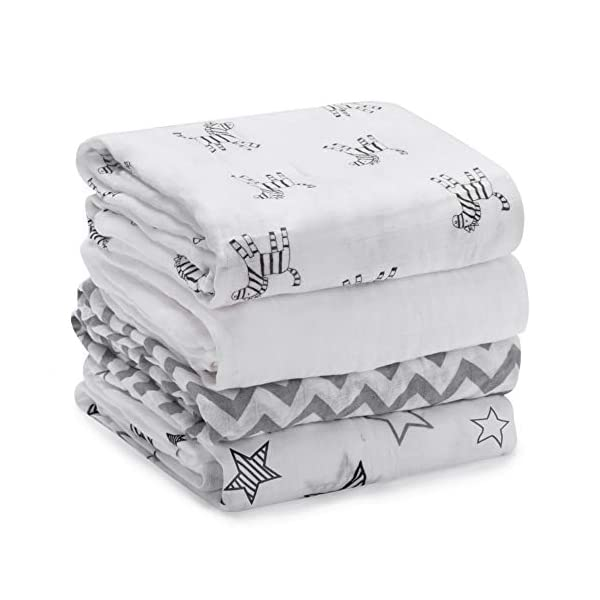 Momcozy Muslin Baby Swaddle Blankets, Large Neutral Receiving Blankets Wrap for Baby, 47 x 47 inch, 4 Pack, Soft Silky 30% Cotton + 70% Bamboo. Newborn to Toddler. (Zebras, Stars, Waves, Pure White)