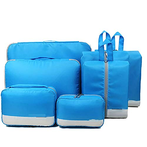 KYEEY Travel Luggage Storage Bag Set 7Pcs Set Packing Cube System Durable Weekender Travel Luggage Organizer Bags Compression Pouches (Color : Blue)