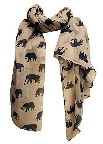 Pamper Yourself Now Damen Schal Elefant Animal Print Schal Geschenk, Damen, Hellgrau mit Blau, 100cm X 185cm