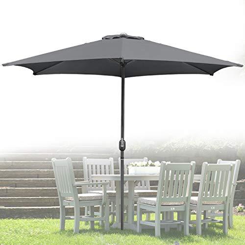 Wolketon Für Garten, Terrasse, Loggia, Balkon, Camping-Platz, Pool, Planschbecken 3.0m Rot Sonnenschirm Garten Schirm Marktschirm Ampelschirm Kurbel Schirm