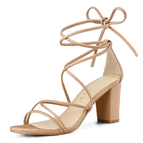 Allegra K Damen Peep Toe Kreuz Strappy Lace Up High Heels Sandalen Nude 39 EU