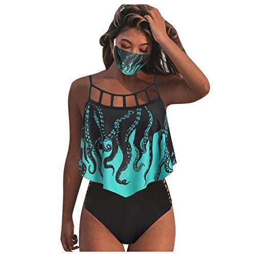 HoSayLike Traje De BañO De Mujer Verano Acolchado Conjunto De Tres Piezas Cubrir Salir Enfadado Pulpo ImpresióN Bikini De Playa BañAdor Traje De BañO (XL)