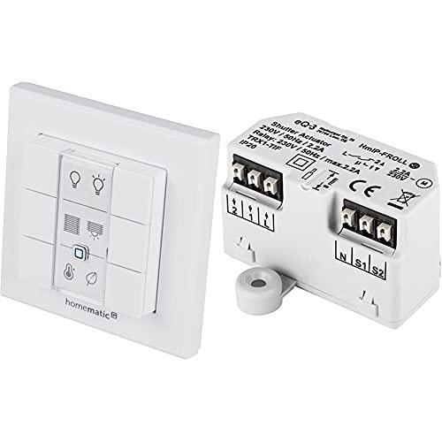 Homematic IP Wandtaster – 6-fach, 142308A0 & Smart Home Rollladenaktor - Unterputz, intelligente Steuerung von Rollläden und Markisen, auch per kostenloser App, 151347A0