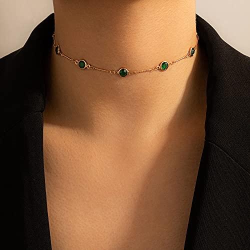 collana donna girocollo HUITAILANG Collane per Le Donne Girocollo in Strass Verde Smeraldo Dorato