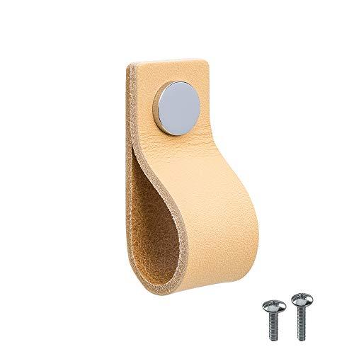 Beslag Design – 1 maniglia in pelle 'Loop', pomello in pelle naturale cromato – L x A x P: 25 x 65 x 25 mm – Maniglia in pelle – Maniglia da cucina classico design scandinavo
