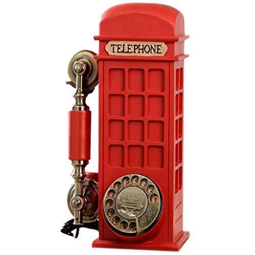 FHISD Cabina de teléfono Creativa de Moda de teléfono Retro Disco Giratorio para el hogar Europeo Teléfono Fijo Antiguo, decoración de Escritorio para el hogar