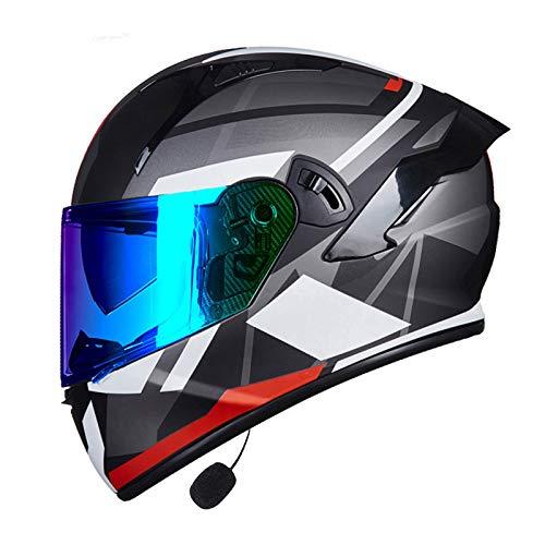 MOMOJA Casco Bluetooth Integrado para Motocicleta, Casco Integral, Antiniebla, Doble Espejo, Casco Abatible, Casco De Seguridad Aprobado por ECE E,L