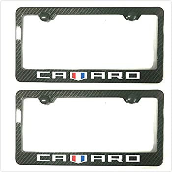 Kimoo Carbon Fiber Camaro License Plate Tag Frame Cover Decorate Gift for Chevy Camaro  2