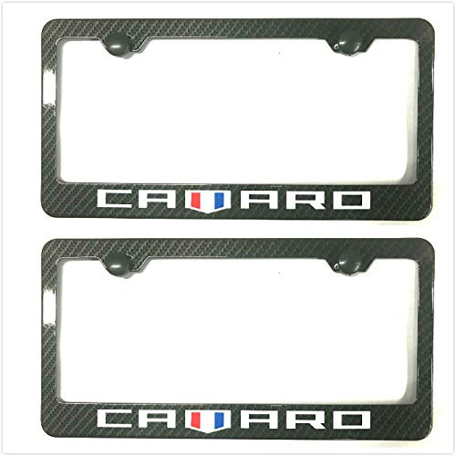 Kimoo Carbon Fiber Camaro License Plate Tag Frame Cover Decorate Gift for Chevy Camaro (2)