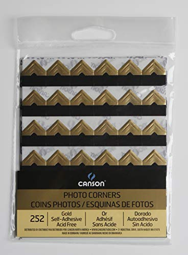 Canson Self Adhesive Photo Corners Peel-Off Archival Quality, 252-Pack, Gold