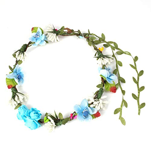 BFD One Ladies Girls Boho Floral Festival Flower Crown Head Band Garland One Size Wipe Clean With Dry Cloth Paper Flowers On Strong Wrapped Florist Wire 30 Colours (Blue And Baby Blue)