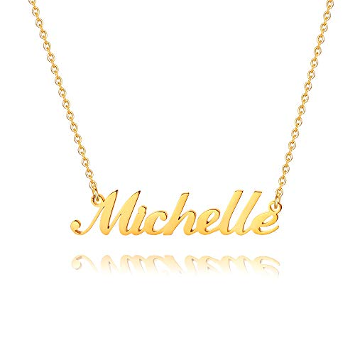M MOOHAM Plate Michelle Name Necklace - 18K Gold Filled Custom Name Necklace Personalized Necklace for Women Girls Kids, Monogram Plate Name Necklace Name Jewelry