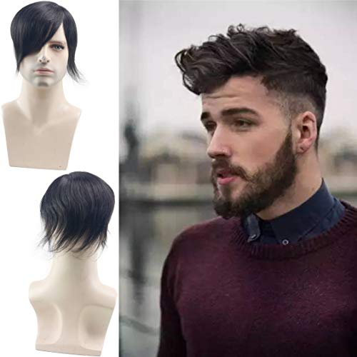 Rossy&Nancy Toupee for Men Human Hair Pieces Fine Mono Lace Top PU Perimeter European Hair Replacement System 9x7inch 1B Natural Black Color