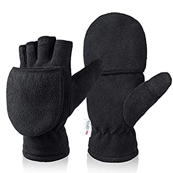 Winter Gloves for Women Convertible Flip Top Mittens with Thick Thermal Fleece Warm for Texting Photographing Running in Cold Weather
