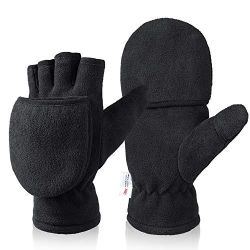 Winter Gloves for Men Women 3M Thinsulate Fingerless Convertible Thermal Mittens Windproof Insulated Polar Fleece Warm Black