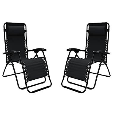 Caravan Sports Infinity Zero Gravity Chair - 2 Pack, Black