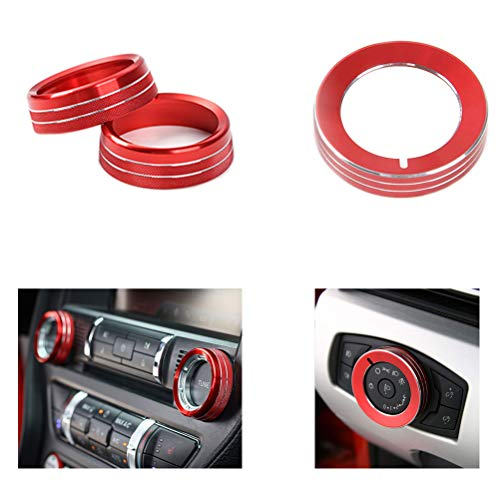 TopDall Red Aluminum Headlight Volume Tune Control Knob Cover Ring Trim Interior Accessories Compatible for Ford Mustang