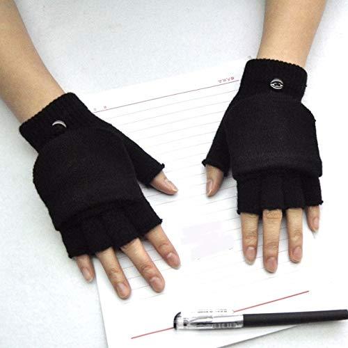 Winter Warm Verdickungshandschuhe Gestrickt Flip Fingerless Exposed Finger Dicke Handschuhe ohne Finger Fäustlinge Handschuh Frauen-B-Black-One Size