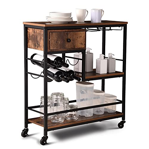 Kitchen Serving Trolley,3 Tiers Drinks Trolley with Wine Rack,Glass...