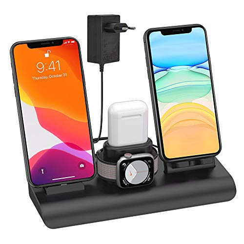 SIMPFUN Caricatore Wireless, 4 in 1 Caricabatterie Wireless per iPhone iWatch Airpods Caricatore Wireless con 3 USB 7.5 W è Adatto per iPhone 11/PRO Max/XS/XR/X/8(Nessun Cavo di Ricarica iWatch)