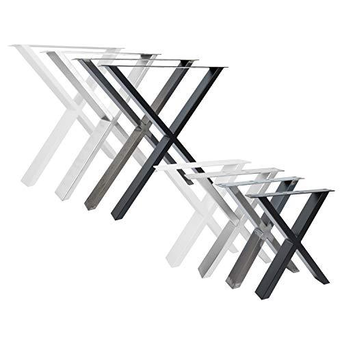 2x Natural Goods Berlin Design Tischkufen viele Modelle Metall Tischbeine | Tischgestell aus Stahl | Esstisch, Schreibtisch, Couchtisch, Bank (X-FORM H72cm, Schwarz)