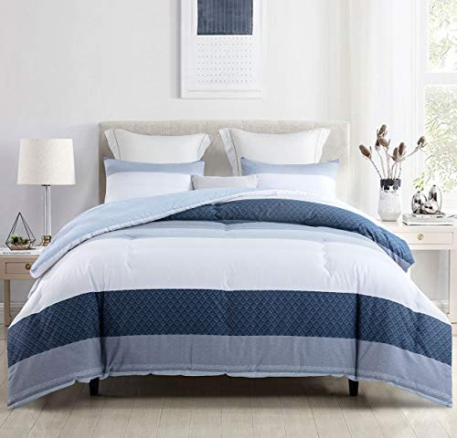 SLEEPBELLA Queen Comforter Set, White and Navy Striped Patchwork Reversible Pattern, Cotton Fabric with Soft Microfiber Fill Duvet Sets, 3pc Down Alternative Bedding Set