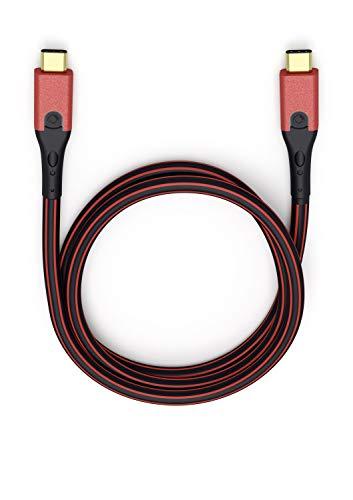 Oehlbach USB-Evolution CC - hochwertiges USB-Kabel 3.1 USB-C auf 3.1 USB-C (Lade-und Datenkabel) schwarz/rot - 50cm
