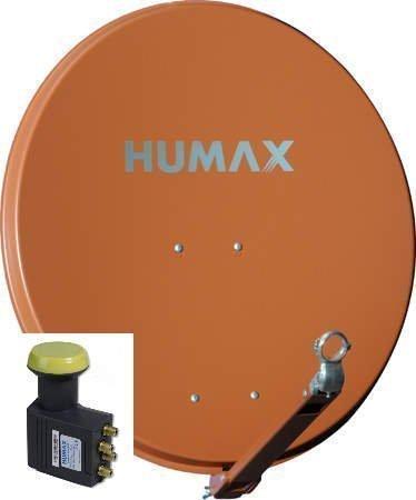 Humax Professional Satelliten-Spiegel 75 ziegelrot + Humax LNB 143 Quad Univiversal