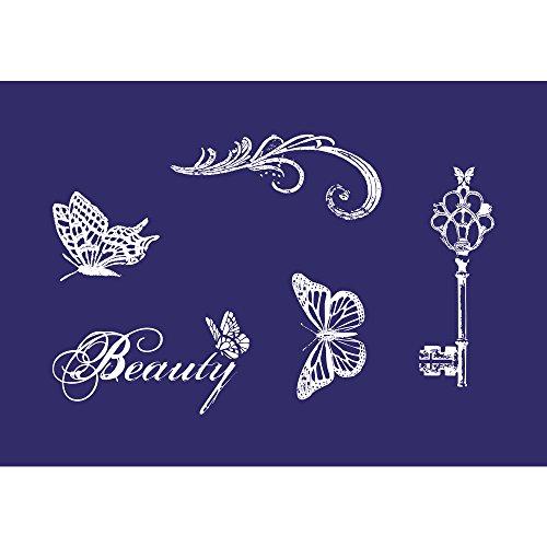 Rayher 45065000 Schablone Motiv: Vintage Beauty, DIN A5, 14,8 x 21 cm, mit Rakel, Siebdruck-Schablone, Malschablone, selbstklebend
