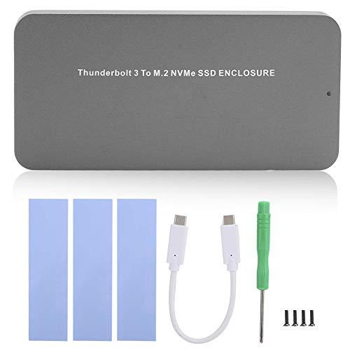 ASHATA Caja HDD, Caja de Disco Duro móvil SSD Type-C PCIEX4 GEN3 Caja de Disco Duro HDD 40G para Thunderbolt 3, Caja de Disco Duro HDD Box con indicador LED de Encendido